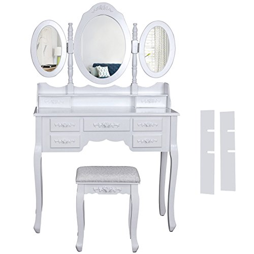 Songmics weiß luxuriös Kippsicherung Schminktisch mit 3 spiegel und hocker, 7 schu...