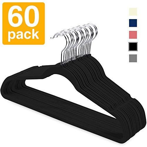 HOUSE DAY Paquete de 60 Perchas de Terciopelo Antideslizante Ahorro de Espacio Percha Traje de Terciopelo Ultra Fino Perchas Negro
