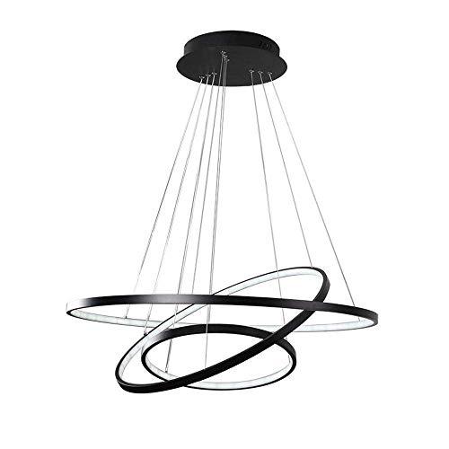 95W LED Runden Hängeleuchte Dimmbar Fernbedienung Drei Ringe Pendelleuchte Schwarz Modern Hängelampe Metall Acryl Pendellampe Esszimmer Lampe Wohnzimmer Leuchte Φ80+60+40cm
