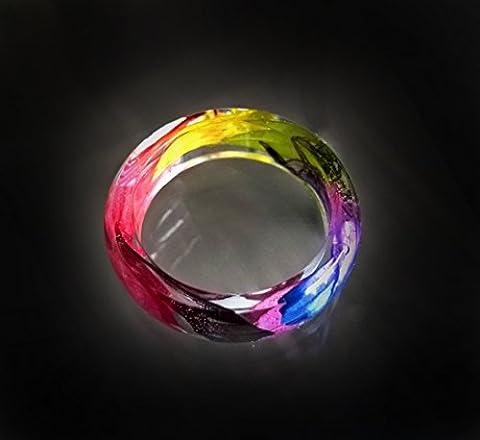 Rainbow petals resin ring