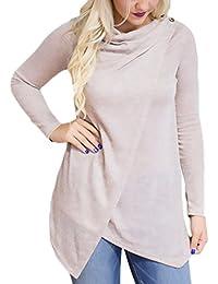 Bluse Damen Langarm T-Shirt Elegante Irregular Winter Bluse Mädchen  Festlich Oberteile Für Mollige Grundiert Casual… 2f26c6c302