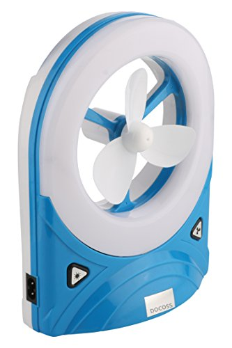 DOCOSS -2 in 1- Bright 4 W Emergency Light Lamp Fan with Led Light 3 Blade High Speed Table Fan Table Fan(Assorted Colour)