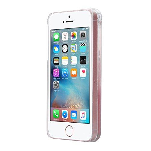 GrandEver Hart Handyhülle für iPhone SE/5S/5 Tasche Durchsichtig Hülle Flüssiges Case 3D Fließen Flüssig Bling Schwimmend Treibsand Ultra Dünnen Glitzer Glänzend Schutzhülle Bling Transparent Hardcase Weihnachten Geschenk