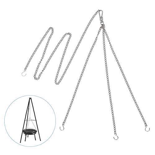 AIEVE Edelstahl Kettensatz, Aufhängekette Dreierkette Kette mit Seilwirbel Haken für Dreibein Schwenkgrill Grillroste 50 60 70 cm Durchmesser ideal für Sommer Party BBQ