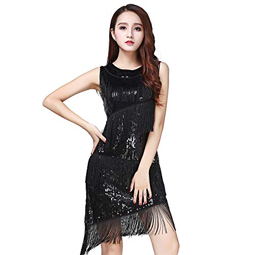 Kostüm Themed Gatsby - Glänzendes Tanzpartykleid für Frauen, Frauen Dancewear Pailletten Fransen Quasten Ballsaal Samba Tango Latin Dance Dress Wettbewerb Kostüme Great Gatsby Themed Party Swing Dress Quaste funkelnde Paill