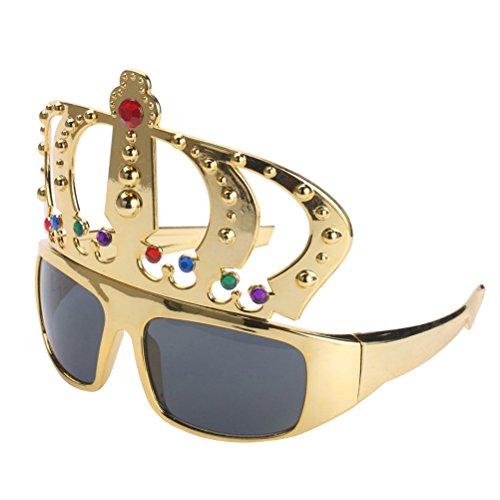W Kostüme Gläser (Tinksky Jeweled Fanci-Frames Golden Crown Gläser mit Strass für Kostüm Funny Spoof)