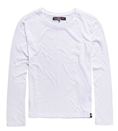 Superdry Viscose Neppy L/S Tee, Top Donna White04C