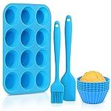 Vassoio di muffin in silicone, Stampo in silicone per muffin Bonus per stampi, senza BPA, antiaderente, utilizzabile nel forno a microonde(6 tazze di cottura in silicone, pennello per olio e spatola)
