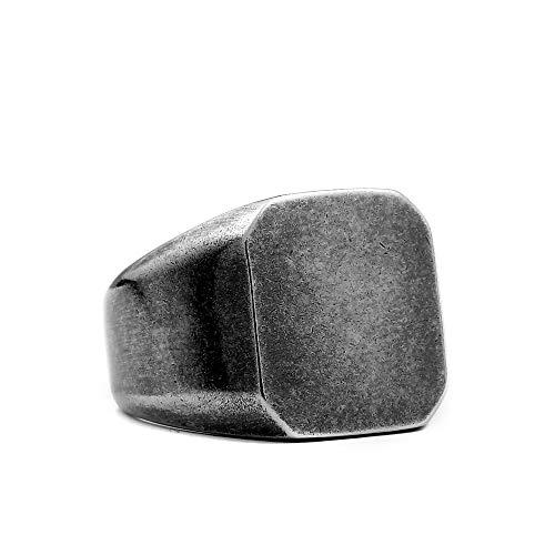 Herren Einfaches Retro einfaches Quadrat Titan Stehlen Uralt Silber Ringe,Größe 59 (18.8)