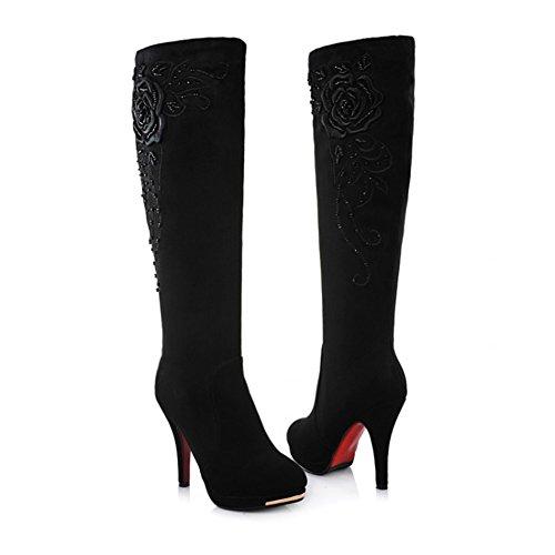 JOYORUN Damen Overknees High Stiefel Boots Langschaft Stiefel Warm Gefütterte Schwarz