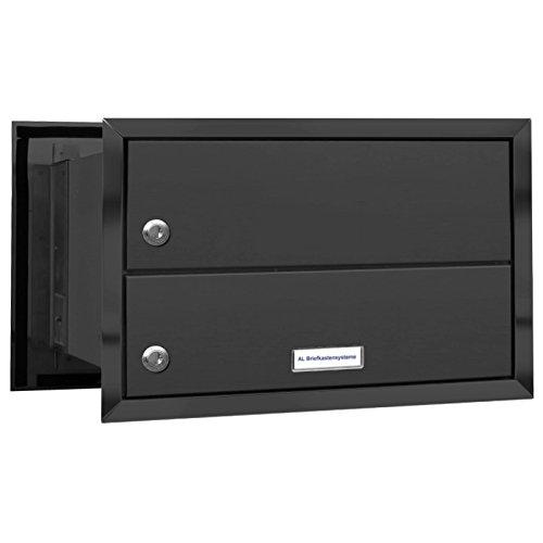 AL Briefkastensysteme 1er Briefkasten Mauerdurchwurf in Anthrazitgrau RAL 7016, 1 Fach DIN A4, wetterfeste Premium Briefkastenanlage Postkasten - 2