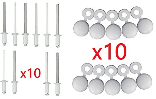 LOT DE 10 RIVETS + CACHE RIVET BLANC PLAQUE D'IMMATRICULATION VOITURE AUTO MOTO SCOOTER MOBYLETTE PROTECTION PLASTIQUE AVEUGLE VIS BOULON FIXATION