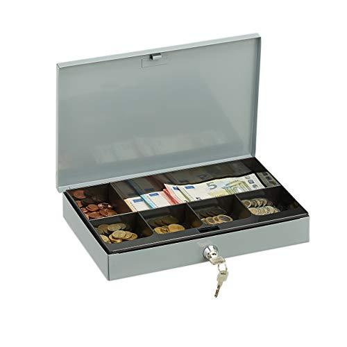 Relaxdays Abschließbare Geldkassette, Flache Kasse mit Münzfach, 2 Schlüssel, Geldzählkassette HxBxT: 5x30x20 cm, grau