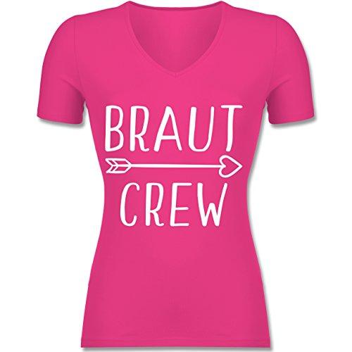 Shirtracer JGA Junggesellinnenabschied - Braut Crew Pfeile - Tailliertes T-Shirt mit V-Ausschnitt für Frauen Fuchsia