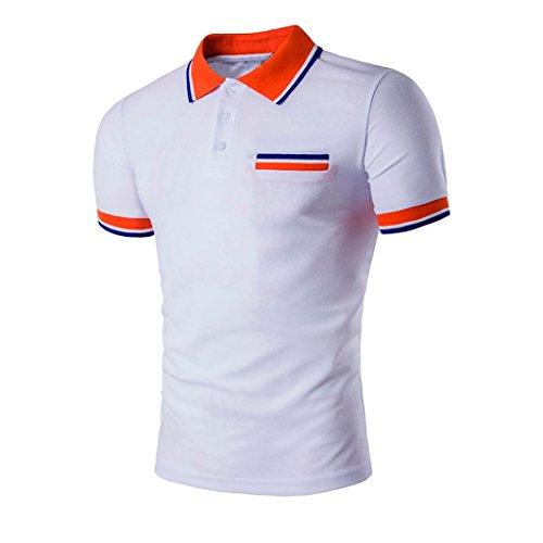 ASHOP Herren-Buttons Design Halber Cardigans Short Sleeve Slim Fit Casual T-Shirt (XL, Weiß)