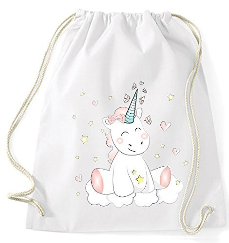 Il Mio Zwergenland Juta Bag Unicorn Cutie, 12 L, Grigio Bianco