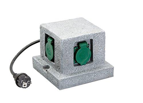 UNITEC 44242 Steckdosenvert. Granitoptik, 4Stdo H07RN-F3G1,5mm², 250 V, grau, 4 Stück
