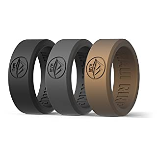 MAUI RINGS BEST Set of 3 Silicone Wedding Ring by SOLID STYLE Silikon Hochzeitsring für Herren Ehering Verlobungsringe Gummi Ring Herren Ringe Silikon Ring BLACK GREY GOLD [DE 62] US:10 UK:T-U(19.7