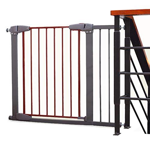 Barrière de sécurité Porte-bébé Extra Large pour Portes d'escalier intérieur, Porte de sécurité réglable pour Chien ou Chat, Protecteur Mural, métal, Gris et Rouge, 77-173cm (Taille : 107-113cm)