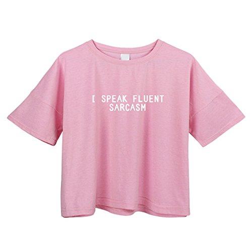 BLACKMYTH Donna Lose Raccolto Maglietta Cute Drucken Girocollo Crop T-shirt Signore Camicetta Rosa