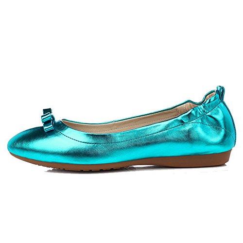 AllhqFashion Femme Pointu Non Talon Tire Couleur Unie Chaussures à Plat Bleu