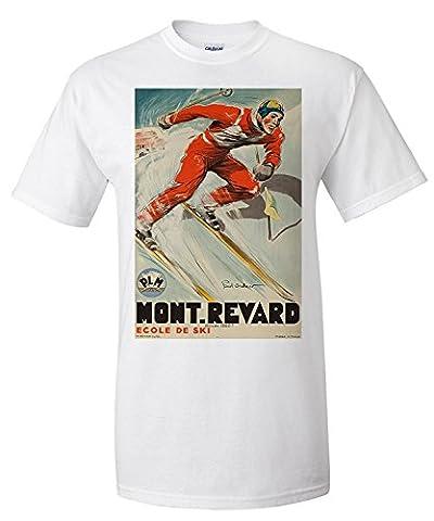 Mont - Revard - Ecole de Ski Vintage Poster (artist: Ordner) France c. 1935 (Premium T-Shirt)