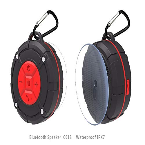 Haut-Parleur Bluetooth qiyanShower Étanche Ipx7 Haut-parleurs sans Fil Stéréo Mini Altavoz Support Microphone Mains Libres Aspiration Cup-in Portable Haut-parleurs Rouge
