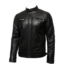 Brandslock Para hombre del motorista Chaqueta de cuero Negro BNWT 100% cuero auténtico S-5XL (M, Negro)