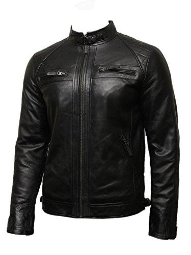Brandslock Uomo del motociclista in pelle Giacca nera BNWT 100% vera pelle (XXX-Large, nero)