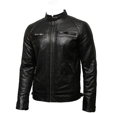 Brandslock Para hombre del motorista Chaqueta de cuero Negro BNWT 100% cuero auténtico S-5XL