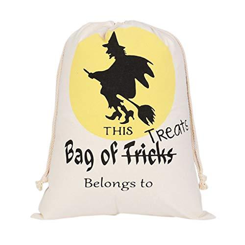 Regard Natral Halloween-Dekor Kordelzug Strahl-Port Sack Leinwand Halloween Druck Taschen Trick or Treat Taschen mit Kürbis-Dekoration