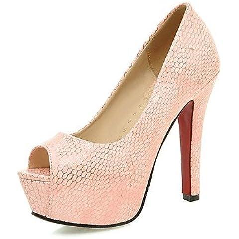 GGX/ los zapatos de cuero sintético de tacón de aguja talón de las mujeres / peep toe / sandalias de plataforma de oficina&carrera / , 5in & over-pink