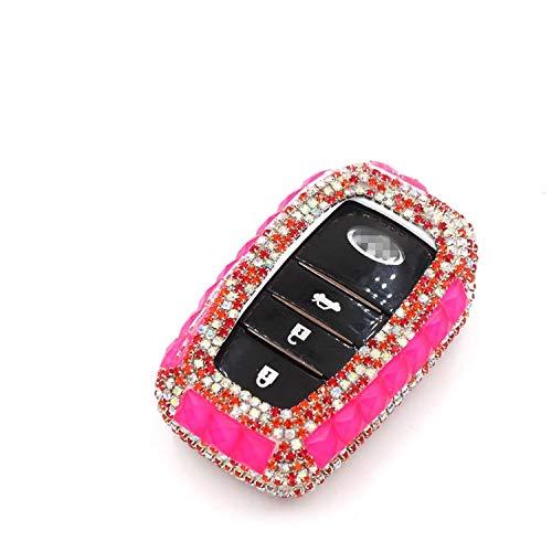 SUNQQB Für Von Diamant Bling Autoschlüssel Fall Abdeckung/Schlüssel Shell Halter Für Toyota Land Prada Corolla Rav4 Krone Reiz Highlander Zubehör,A-Rose