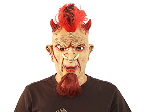 Maske Dämon Teufel mit Iro Ork Latexmaske -