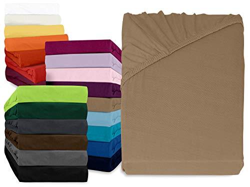 npluseins klassisches Jersey Spannbetttuch - erhältlich in 34 modernen Farben und 6 verschiedenen Größen - 100{00bfe549a02928315bd8f9cbf954c0d60c75ab4ccd79f0c374d39b7ff0ea84a4} Baumwolle, 70 x 140 cm, Sand