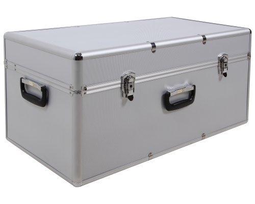 Ondis24 XXL Aufbewahrungskoffer Lagerkoffer Transportkoffer Alukoffer-Optik mit riesigem Stauvolumen silber mit Innenpolsterung abschließbar …