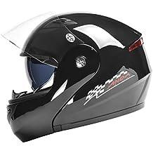 Casco de Motocicleta Unisex para Adultos Todoterreno Moto Casco Doble Lente a Prueba de Niebla Levante