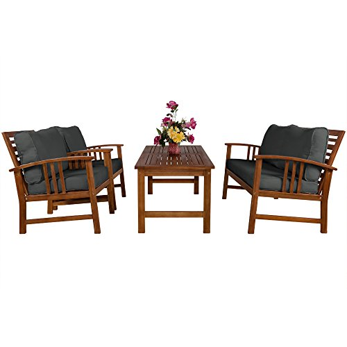 Deuba Wooden Garden Furniture Set Outdoor Patio Table and Chairs Lounge with Coffee Table Rectangular