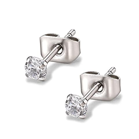 Round Clear Cubic Zirconia Stainless Steel Stud Earring Pierced 3mm-8mm Hypoallergenic Mens Womens (3mm Stone)