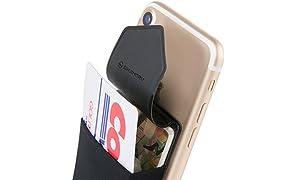 Sinjimoru Porte Carte de Crédit pour l'arrière de Votre téléphone, Pochette Autocollante avec Rabat, pour iPhone et Android : Sinji Pouch Flap, Noir.
