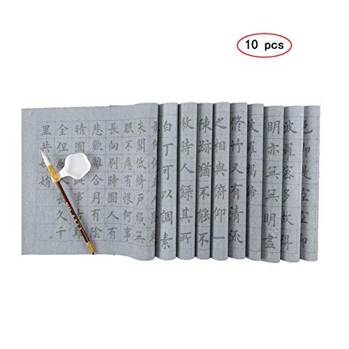 QJiang Chinesische Wasserschreibe Gitter Magie Stoff Keine Tinte Schreibtisch Matte mit einem Schreibpinsel 10 Stücke für Kalligraphie Anfänger Sumi Zeichnung Kanji Üben (69x34 cm) -