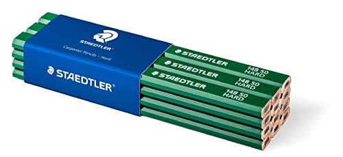 Staedtler 148 50 Zimmermann-Bleistift (oval-achtkant, Härtegrad hart, für Strichbreiten von 1 - 2 mm, ungespitzt, 175 mm lang, hohe Qualität, aus umweltfreundlichem FSC-Holz), 12 Stück