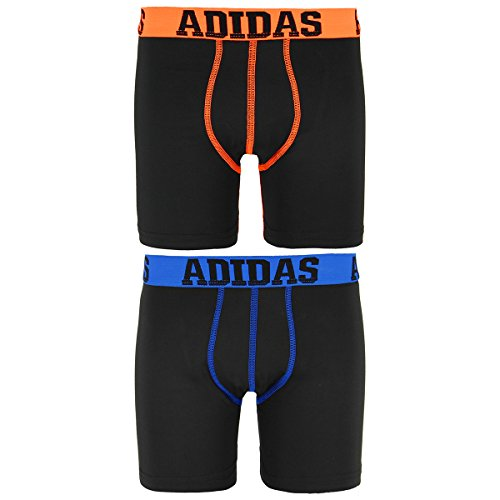 adidas Boy's Sport Performance Climalite Midway Underwear (2 Pack), Black/Solar Orange/Black/Shock Blue, Medium/10-2 (Climalite-pack)