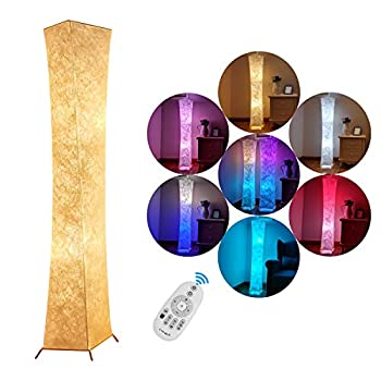 RGB Soft Floor Lamp, Bedroom Fabric Lamp Warm Lighting Romantic Atmosphere Colorful Minimalist Modern Design for Living Room, Tall Arc Standing Sleeping Night Light with Smart Switch(20 * 20 * 132cm)