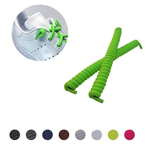 Lockys Kids Spiralschnürsenkel - selbstbindende spiralförmige elastische Schnürsenkel für Kinder - Garantiert einen festen Halt und hohen Tragekomfort - (Einheitsgröße, Neongrün)