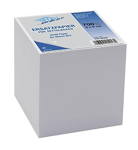 Preisvergleich Produktbild Wedo 27026500 Ersatzpapier (für Zettelbox, holzfrei, 9 x 9 cm, 700 Blatt) weiß