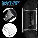 CAVN Compatible with Fitbit Charge 3 Screen Protector Case [2-Pack], Chargeable Protective Case Bumper Flexible TPU Slim Full Protection Shatter-Resistant Shock-proof Screen Case Cover, Black & Clear