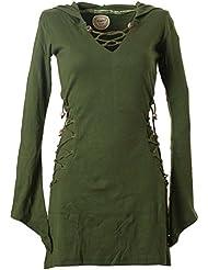 Vishes - Alternative Bekleidung – Elfenkleid mit Zipfelkapuze und Bändern zum Schnüren