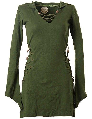 Vishes - Alternative Bekleidung - Elfenkleid mit Zipfelkapuze und Bändern zum Schnüren Olive 36-38 (XS) (Grüne Kostüm Frauen)