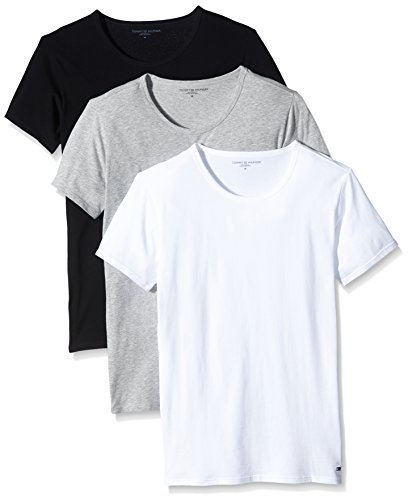 Tommy Hilfiger Herren T-Shirt Crew-neck T-shirt Ss 3 Pack Premium Essentials Mehrfarbig (Black/Grey Heather Bc05/White)